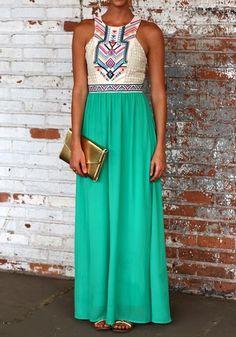Maxi robe longue imprimé dentelle patchwork bohème sans manches mousseline de soie plage femme élégantes vert