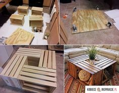 Using wooden crates to make a coffee table for indoors or out.