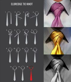 Ferrera Fresh Tip: Try the Eldredge knot, its pretty cool and other might dig it! At Michael Ferrera Clothing we've been exploring the Eldredge knot. How does one tie the Eldredge knot, and when is it Cool Tie Knots, Cool Ties, How To Tie Knots, Eldredge Knot, Tie A Necktie, Tie A Tie, Necktie Knots, Cravat Tie, Scarf Knots