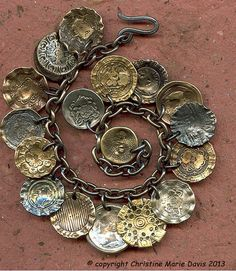 smashing button CHARM bracelet on STEEL chain for the vagabond GYPSY girl who traverses the earth