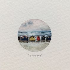 Day 159 : Muizenberg beach huts. 26 x 26 mm - by Lorraine Loots