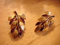 "New Listing Started goldtone clip on earrings leaf design with wine coloured enamel 1.25""long £1.45"