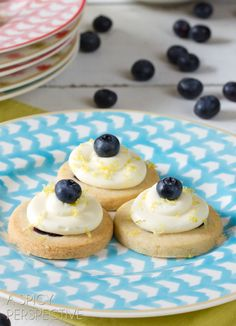 Fresh Blueberry Shortbread with Lemon Frosting