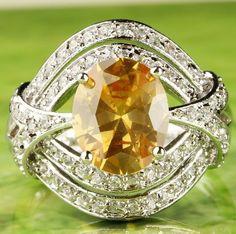 Oval Cut Morganite White Topaz Gemstone Silver Ring Size 9
