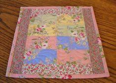 Pink Floral Quilted Mug Rug Shabby Chic Mug Rug Patchwork