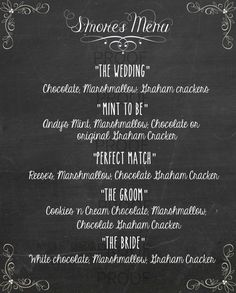 ... Printable- Chalkboard S'mores menu- Pdf Menu Printable- Wedding