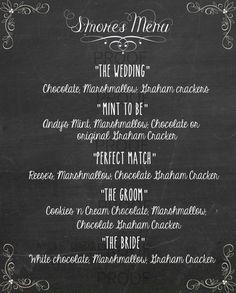 Chalkboard Wedding Cocktail Menu Printable- Chalkboard S'mores menu- Pdf Menu Printable- Wedding Printables - TheWeddingMile.com