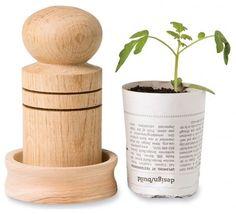 Paper Pot Maker--transforms newspaper scraps into little pots for growing seeds. Then plant seedling and pot right into the ground.