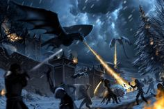 Obviously excited for season 8 of Game of Thrones I had to paint what would the battle of Winterfell would look like. I definitely wanted to capture ice. Battle of Winterfell Arte Game Of Thrones, Game Of Thrones Artwork, Game Of Thrones Dragons, Got Dragons, Game Of Thrones Houses, Game Of Thrones Fans, Mother Of Dragons, Iron Throne Game, Game Of Thones