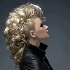 Boisterous mohawk updo with curls curls curls!!