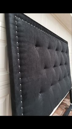 All Custom Made in South Florida, Suede King Headboard Chrome Rivets Diy Tufted Headboard, Bed Headboard Design, Black Headboard, Modern Headboard, Bedroom Bed Design, King Headboard, Headboards For Beds, Bedroom Decor, Diy Bed