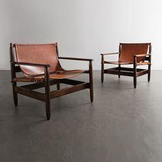 (Designer Unknown), Brazil, 1950 Pair of jacaranda and leather lounge chairs. Attributed to Liceu de Arte e Oficio.