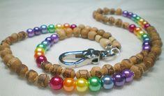 Rainbow beaded lanyard,  wooden id lanyard, floral badge holder, lanyard cord, id holder, lanyard holder, lanyard chain, chakra, LGBTQ, LGBT