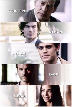 Guiseppe, Damon, Stefan, Zach et Sarah
