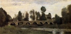 The Bridge at Grez sur Loing, 1860 by Camille Corot. Realism. landscape. Currier Museum of Art, Manchester, NH, US