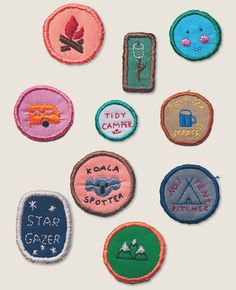 Home-made merit badges for camping feature in Lunch Lady Issue Three. Lunch Lady Home-made merit badges for camping feature in Lunch Lady Issue Three. Embroidery Patches, Cross Stitch Embroidery, Hand Embroidery, Diy Patches, Pin And Patches, Zack E Cody, Logos Retro, Camping Style, Camping Items