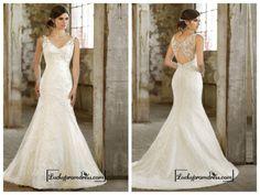 Lace Over Straps V-neck Trumpet Wedding Dress
