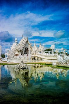 The magnificent White Temple in Chiang Rai, Thailand.