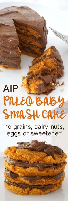 "AIP & Paleo Baby Birthday ""Smash"" Cake made from sweet potatoes, avocado, coconut & carob! It is grain-free, dairy-free, egg-free, nut-free and sweetener-free! 