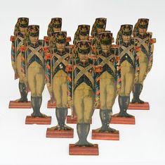 Antique Ticonderoga Old Guard Skittle Set Ny 1800s Wood Litho Toy Soldiers Box