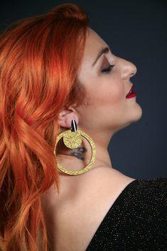 Gold glitter earrings, handmade wooden earrings,  fashionable statement earrings, round dangle earrings, hoops Wooden Earrings, Earrings Handmade, Handmade Jewelry, Statement Earrings, Dangle Earrings, Crochet Earrings, Bubble Wrap Envelopes, Hairspray, Handmade Wooden