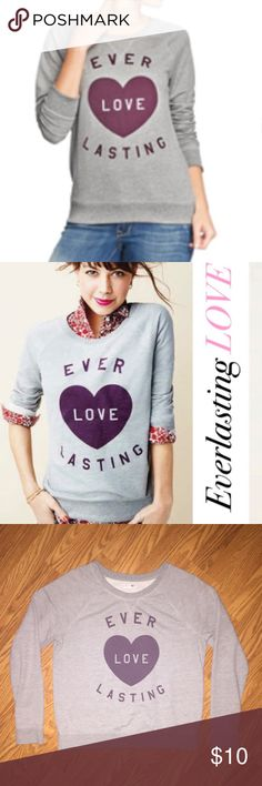 "Old Navy Sweater ❤️ Old Navy ""Everlasting Love"" sweater ❤️ Comfy sweater!  ""Everlasting Love"" print!  Grey sweater with purple lettering & heart! Size: Large 60% Cotton, 40% Polyester Old Navy Sweaters"