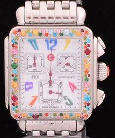 Fine-Michele-Deco-SS-Ladies-Wrist-Watch-Carousel-Topaz-Bezel-Ref-MW05P25A1933