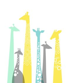 "Over 60 dollars off! Ready-to-ship 25X30"" giraffes canvas in yellow, gray, blue, and mint green."