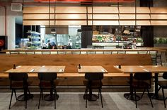 I love the industrial look Levy:Chamizer Architects studio realized for Giraffe Restaurant from Tel Aviv, Israel. As you can see from the photos below, th Bathroom Goals, Douglas Fir, Tel Aviv, Restaurant Bar, Giraffe, Travel Inspiration, Concrete, Industrial, Wood