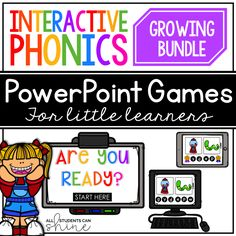 Interactive Phonics FREEBIE {digital resource for distance learning} Interactive Phonics Games, Phonics Activities, Interactive Whiteboard, Powerpoint Games, Microsoft Powerpoint, Whiteboard Games, Short Vowel Games, Phonics Blends, Learning Resources