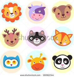 Set of cute cartoon animals: lion, cow, bear, deer, raccoon, fox, owl, giraffe and panda. Vector illustration - stock vector
