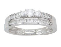 $499.95 for 0.40ct Three stone H-I Diamond Engagement Ring & Wedding Band Set 14k White Gold
