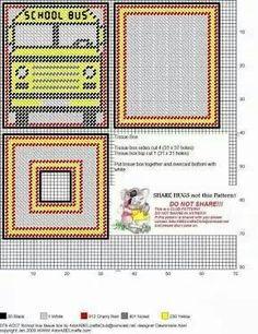 School Bus Tissue Box Cover                                                                                                                                                     More Plastic Canvas Coasters, Plastic Canvas Tissue Boxes, Plastic Canvas Crafts, Plastic Canvas Patterns, Tissue Box Holder, Tissue Box Covers, Crochet Skull Patterns, Cross Stitch Patterns, Yarn Storage