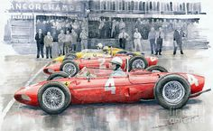 Yurly Shevchuk   WATERCOLOR    Ferrari 156 Sharknose 1961 Belgian Gp
