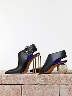 The Cruel Shoes - Examples 3 & 4 - Celine Sphere Heel Slingback Bootie Caged Heels, Stiletto Heels, High Heels, Zapatos Shoes, Shoes Heels, Pumps, Look Fashion, Fashion Shoes, Fashion Accessories
