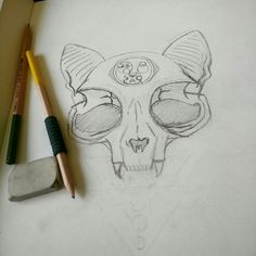 Cat skull tattoo design with a Gallifreyan third eye