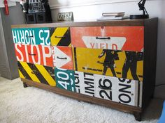 DIY - revamp old dresser with road signs.