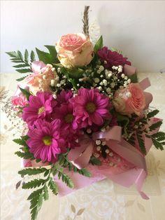 Flowers, pink roses, and gerberas