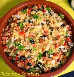 Cous cous de verduritas y aceitunas . Receta paso a paso http://recetasysonrisas.blogspot.com.es/2014/05/cous-cous-de-verduras-y-aceitunas.html?m=1 #food #recipe #tutorial #salad #couscous