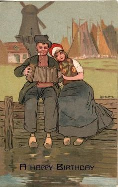 Artist Signed Alberts Dutch Couple Windmill Accordion Birthday Postcard