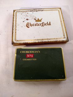 Two Tobacco Tins, Chesterfield and Churchman's Cigarettes by MySimpleDistractions on Etsy