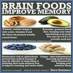 Natural Cures Not Medicine: Brain Foods That Improve Memory By olloo Healthy Brain, Brain Food, Get Healthy, Healthy Recipes, Healthy Drinks, Healthy Meals, Brain Nutrition, Brain Health, Health And Nutrition