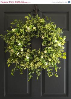 WREATH SALE Boxwood Wreath with White Tea Leaf Flowers - Summer Wreath - Fall Wreath - Front Door Wreaths - Realistic Faux Boxwood Wreath - by HomeHearthGarden on Etsy https://www.etsy.com/listing/230702869/wreath-sale-boxwood-wreath-with-white