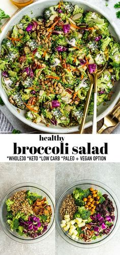 This creamy Broccoli Salad is a healthy remake on the classic potluck staple. Made with simple ingredients like fresh vegetables crunchy almonds sunflower seeds Side Dishes For Bbq, Vegan Side Dishes, Summer Side Dishes, Low Carb Side Dishes, Sides For Bbq, Summer Salad Recipes, Salad Recipes For Dinner, Summer Salads, Picnic Salad Recipes