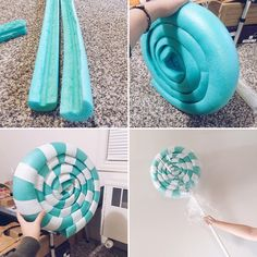 A quick look at how I made the giant lollipop for my Vanellope Von Schweetz costume. Carve the pool noodles and glue the ends to… Candy Themed Party, Candy Land Theme, Candy Land Birthday Party Ideas, Candy Crush Party, Lollipop Decorations, Candy Christmas Decorations, Candyland Decor, Gingerbread Decorations, Office Christmas