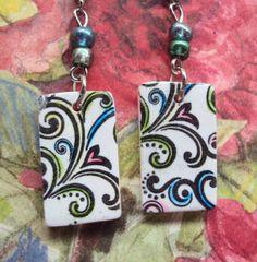 Polymer clay Copier transfer earrings