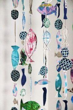 Fabric fish mobile by Alisa Burke. Art For Kids, Crafts For Kids, Arts And Crafts, Paper Crafts, Diy Crafts, Fabric Fish, Fabric Art, Mobiles, Craft Projects
