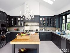 The spacious kitchen in Gwyneth Paltrow's Hamptons home. #houseandgarden