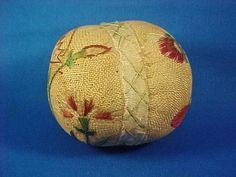Antique 18th c. American Pin Ball Pincushion, Silk & Linen Fabrics, Crewel Embroidery