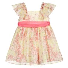 Pink and yellow floral dress for girls by Abel & Lula, made in soft, lightweight chiffon with a cotton lining. It has ruffle trims on the shoulders and a removable pink chiffon sash around the middle, which can be tied in a bow at the back. Yellow Floral Dress, Pink Yellow, Designer Dresses For Kids, Girls Dresses, Summer Dresses, Ruffle Trim, Chiffon Dress, Pink Girl, Girl Outfits